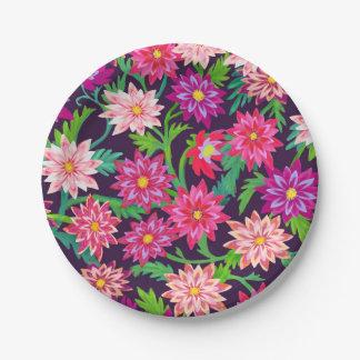 Verzauberter Blumengarten-Rosa-Papier-Teller Pappteller 17,8 Cm