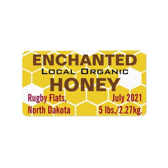Verzaubertes lokales Bio Honig-Glas Adressaufkleber