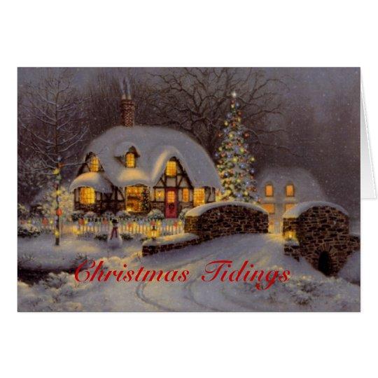 Verzierte Haus-Szenen-Weihnachtsgruß-Karte Karte