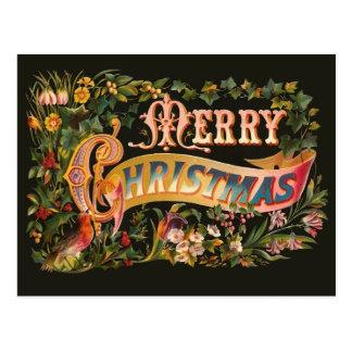 Verzierte Vintage Weihnachtsgruß-Postkarte Postkarte