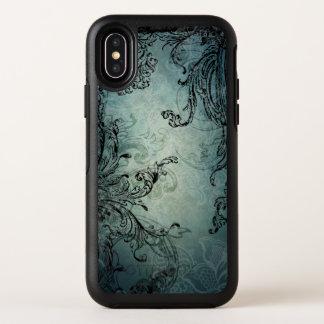 Verzierter barocker schwarzer Wirbel auf blauem OtterBox Symmetry iPhone X Hülle