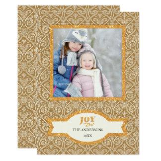 Verzierter GoldGlitterfeiertags-Foto Gruß/FREUDE 12,7 X 17,8 Cm Einladungskarte