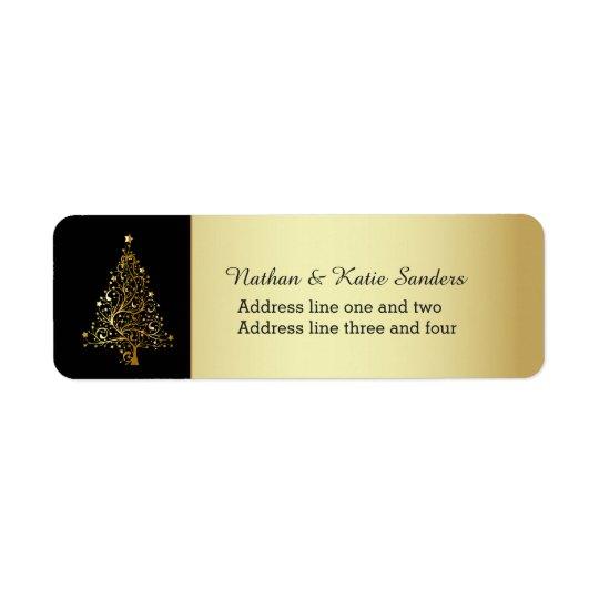 Verzierter Goldweihnachtsbaum Rücksende Aufkleber