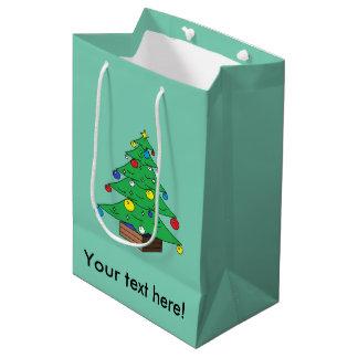 Verzierter Weihnachtsbaum-Cartoon Medium Geschenktüte