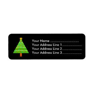 Verzierter Weihnachtsbaum Rückversand-Adressaufkleber