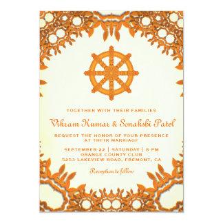 Verziertes Dharma Rad-indische Hochzeits-Einladung Karte