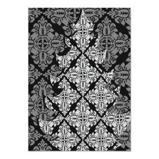 Verziertes Luxusweihnachtsbaum-Damast-Muster Karte
