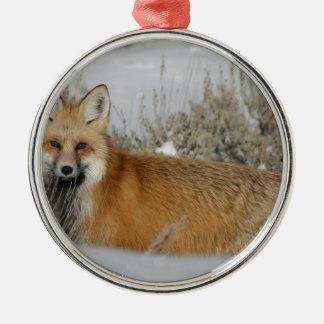 Verzierung des roten Fuchses Rundes Silberfarbenes Ornament