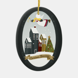 Verzierung des Weihnachtssegen-Engels-| Ovales Keramik Ornament