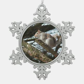 Verzierung - Eichhörnchen Schneeflocken Zinn-Ornament