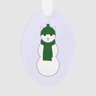 Verzierung mit Snowcat im grünen Hut und im Schal Ornament