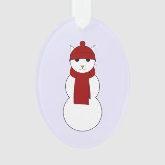 Verzierung mit Snowcat im roten Schal und im Hut Ornament