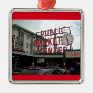 Verzierung Pike-Platz-Markt-Seattles Washington Quadratisches Silberfarbenes Ornament