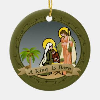 Verzierung w/Scripture der Geburt Christis-(Grün) Keramik Ornament