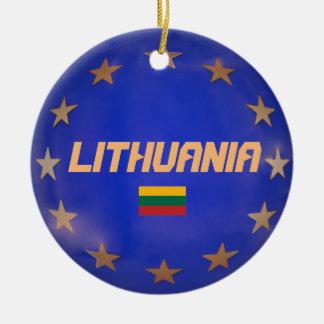 Verzierungen Litauens E.U. Flag Christmas Rundes Keramik Ornament
