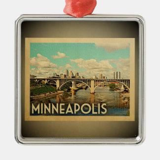 Verzierungs-Vintage Reise Minneapolis Minnesota Silbernes Ornament