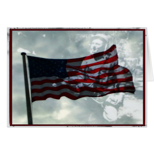 Veteranen-Tag, amerikanische Flagge und WWII Grußkarte