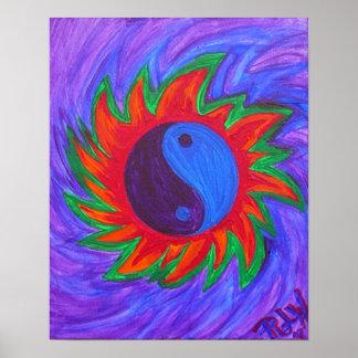 Vibrations de yin et de yang d'impression de toile poster