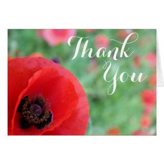 Vibrierende rote Mohnblume danken Ihnen zu Mitteilungskarte