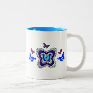 Vibrierende Schmetterlings-Tasse Zweifarbige Tasse