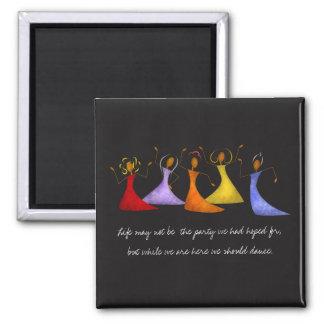 Vibrierende Tanzen-Damen-strukturierte Collage Quadratischer Magnet