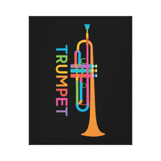 Vibrierende Trompete in den Regenbogen-Farben Leinwanddruck