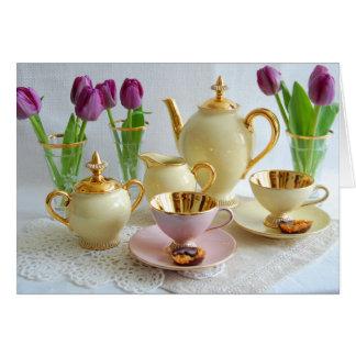 Vibrierende Vintage Tee-/Kaffee-Tulpe-Gruß-Karte Grußkarte