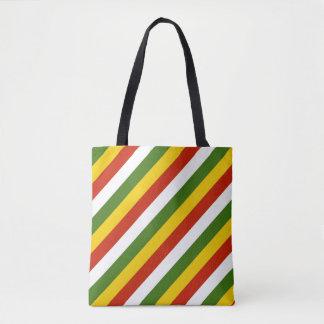 Vibrierende Weihnachtsstreifenfarben Tasche