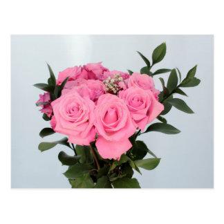 Vibrierender Blumenstrauß der schönen rosa Rosen Postkarten