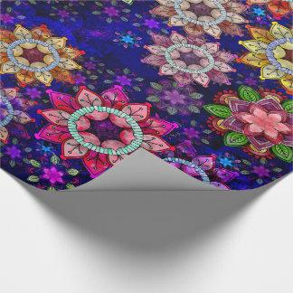 Vibrierender explodierender Watercolor-Mandalas Geschenkpapier