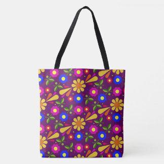 Vibrierendes abstraktes Blumenmuster Tasche