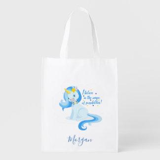 Vibrierendes blaues Einhorn Wiederverwendbare Einkaufstasche