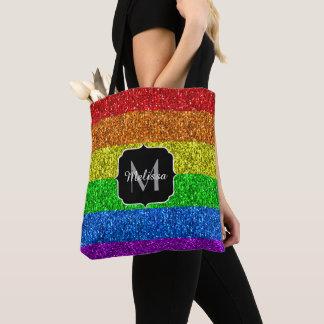 Vibrierendes Monogramm Glitzern LGBT Flagge Tasche