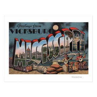 Vicksburg, Mississippi - große Buchstabe-Szenen Postkarte
