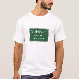 Vicksburg Mississippi Stadt-Grenze-Zeichen T-Shirt