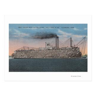 Vicksburg, Mitgliedstaat - Ansicht des Bootes mit Postkarte