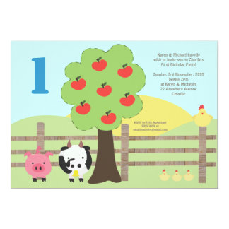 Vieh-Apfelbaum-laden 1. Geburtstags-Party ein 12,7 X 17,8 Cm Einladungskarte