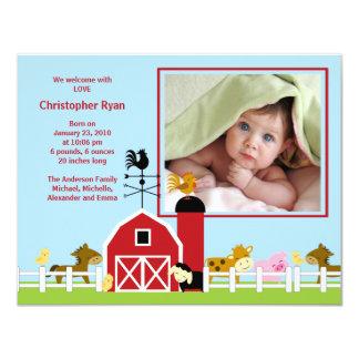Vieh-Baby-Jungen-Geburts-Foto-Mitteilung 10,8 X 14 Cm Einladungskarte