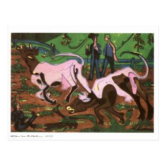 Vieh im Früjahr durch Ernst Ludwig Kirchner Postkarte