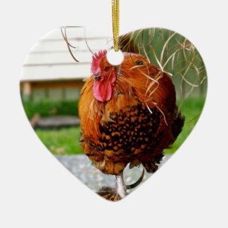 Vieh-Natur-Fotografie des Hahn-| Keramik Herz-Ornament