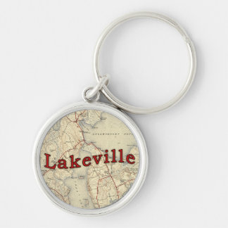 Vieille carte de Lakeville le Massachusetts Porte-clé Rond Argenté