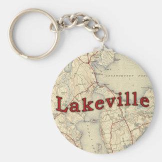 Vieille carte de Lakeville le Massachusetts Porte-clé Rond