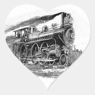 Vieille locomotive à vapeur sticker cœur