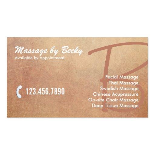 Vieille thérapie grunge vintage de massage modèles de cartes de visite