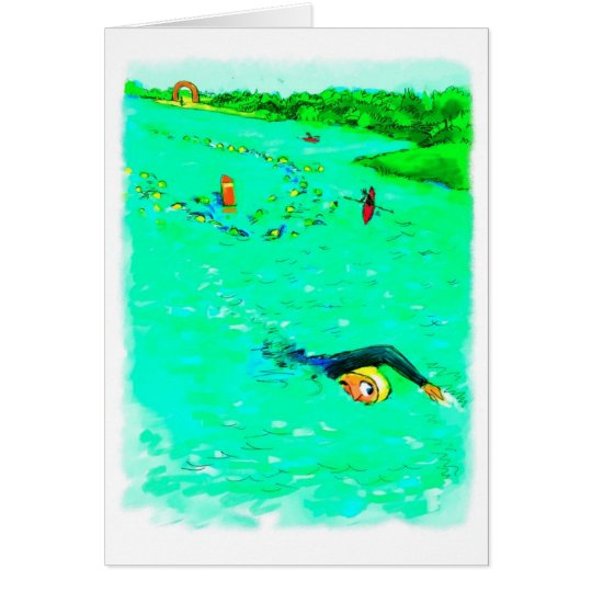 Viel Glück für Triathlete - schwimmend weg vom Grußkarte