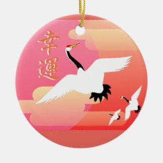 Viel Glück-Kräne Keramik Ornament