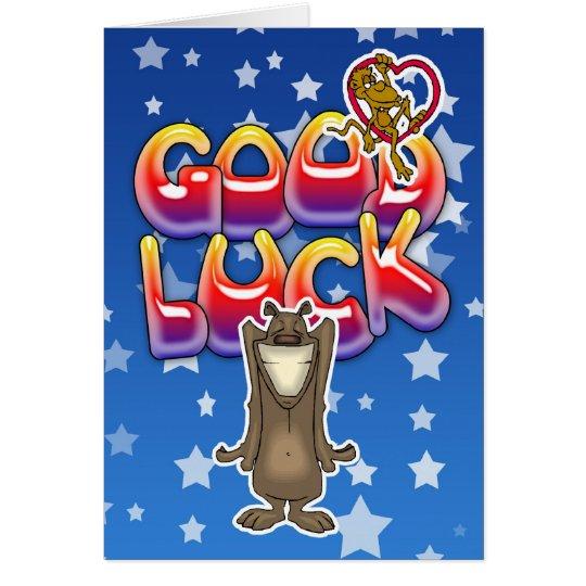 Viel Glückkarte mit Hund und Affen Grußkarte