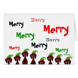 Viele fröhliche Dackel-Weihnachtskarte Karte