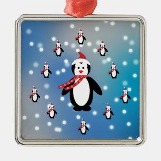 Viele Pinguine Quadratisches Silberfarbenes Ornament