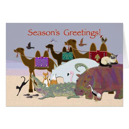 Viele Tiere frohe Feiertage Karte